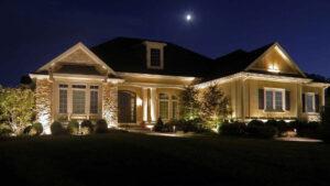outdoor lighting on modern farmhouse