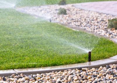 lawn sprinklers watering grass