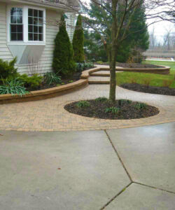 brick pathway in yard