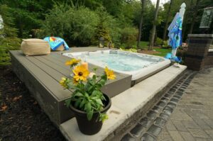 hot tub on outdoor stone patio