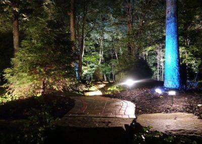 outdoor lights lighting brick walk in the dark