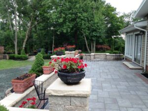 outdoor stone patio with plants