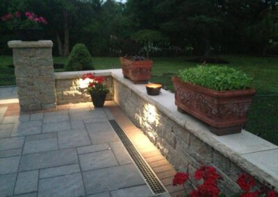 outdoor wall lights on stone patio