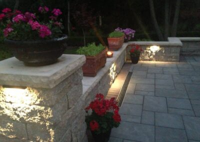 small outdoor lights on stone patio