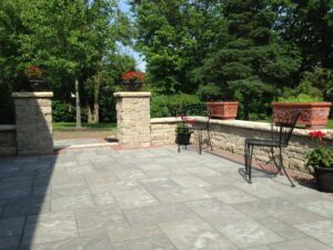 stone patio with flowers